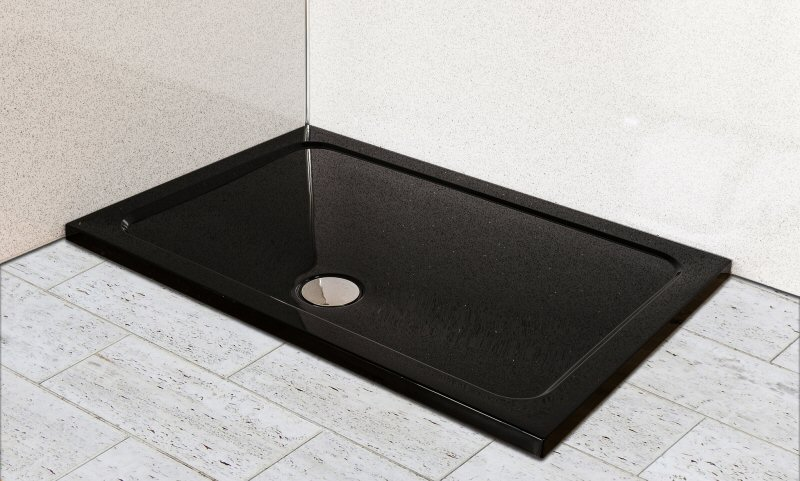 premium low profile gloss black stone resin rectangular shower tray